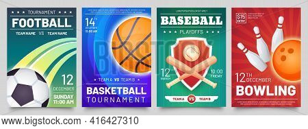 Sport Games Flyer. Basketball, Baseball, Football Match And Bowling Tournament Posters. Soccer, Ball
