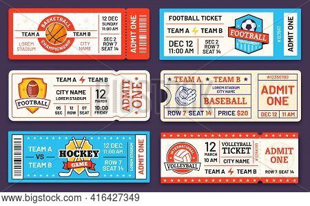 Sport Tickets. Baseball, American Football, Soccer, Hockey And Basketball Game Ticket Templates. Mat