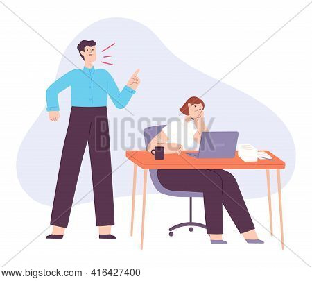 Angry Boss. Office Manager Yell At Tired Employee. Fight And Scream In Job Team. Bad Business Leader