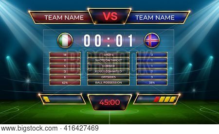 Soccer Scoreboard. Football Match Score And Goal Statistic Table. Realistic Stadium Grass Field With