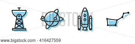 Set Line Space Shuttle And Rockets, Satellite Dish, Satellites Orbiting The Planet Earth And Great B