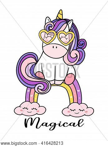 Cute Magical Purple Baby Unicorn With Glasses Sitting On...