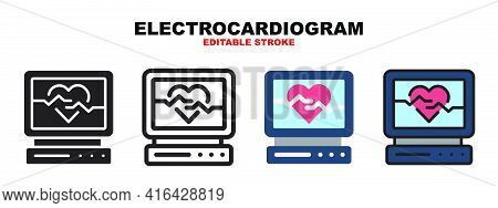Electrocardiogram Icon Set With Different Styles. Icons Designed In Filled, Outline, Flat, Glyph And