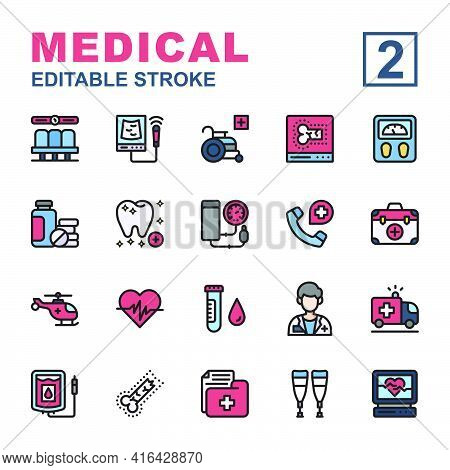Icon Set Medical Made With Line Color Technique, Contains A Usg, Electrocardiogram, Dentist, Wheel C
