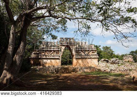 Ancient Mayan Arch At Labna Mayan Ruins, Yucatan, Mexico