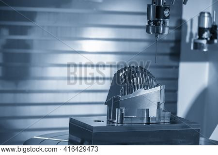 The Touching Probe Attached On Cnc Milling Machine Checking Head Lamp Lens-reflection Mold Part. The