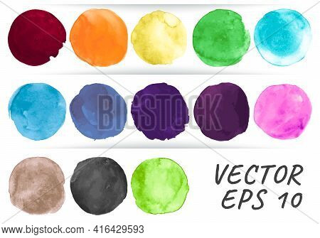 Watercolor Circle Vector. Abstract Rounds Elements. Colorful Blots Set. Brush Stroke Watercolor Circ