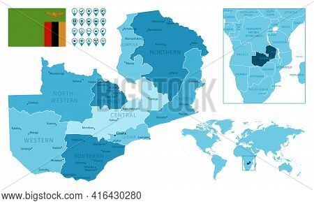 Zambia Detailed Administrative Blue Map With Country Flag And Location On The World Map. Vector Illu