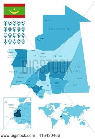 Mauritania Detailed Administrative Blue Map With Country Flag And Location On The World Map. Vector