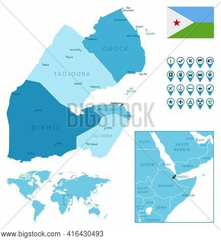 Djibouti Detailed Administrative Blue Map With Country Flag And Location On The World Map. Vector Il