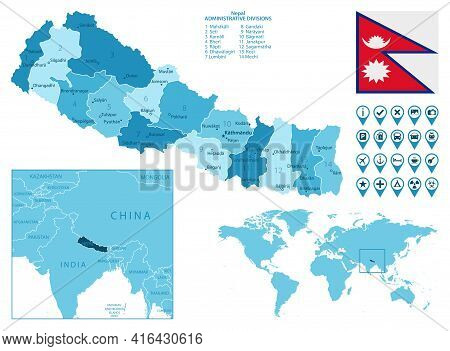 Nepal Detailed Administrative Blue Map With Country Flag And Location On The World Map. Vector Illus