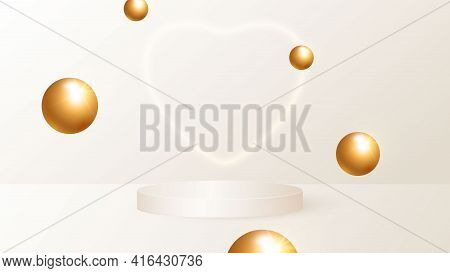 A Minimalistic Scene With A Beige Cylindrical Podium And Flying Golden Balls. Scene For The Demonstr
