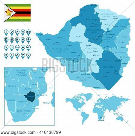 Zimbabwe Detailed Administrative Blue Map With Country Flag And Location On The World Map. Vector Il