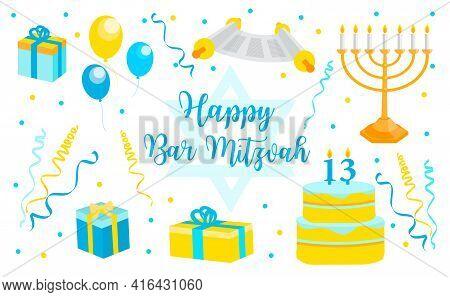 Bar Mitzvah Invitation Or Congratulation Card, Banner. Jewish Holiday, 13 Year Old Boys Birthday Vec