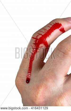 Wounded Finger With Blood Dripping On Hand Isolated On White Background, Copy Space