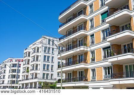 Modern Upscale Apartment Buildings Seen In Prenzlauer Berg, Berlin