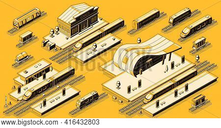 Train Station Buildings With Platforms And Electric, Diesel Locomotives With Passenger And Freight W