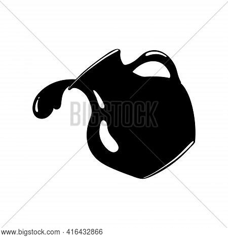 Black Silhouette Drawing Of A Water Jug. Water Is Pouring. Liquid Dishes. Ceramics. Isolated, White.