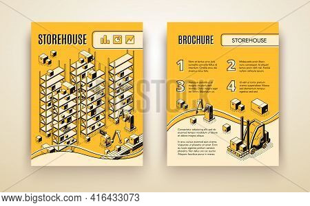 Automated Storehouse, Delivery Company Logistic Center Isometric Vector Brochure Pages Template With