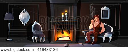 Classic Victorian Or Provence Interior Cartoon Vector With Retro Furniture And Elegant Gentleman Sit