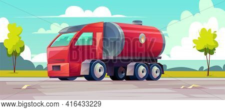 Vector Red Truck Delivers Flammable Oil In Tank. Background With Vehicle, Green Trees And Sky With C