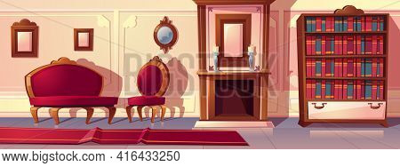 Vector Cartoon Illustration Of Luxury Living Room With Fireplace. Rich Ballroom Or Hallway With Mold
