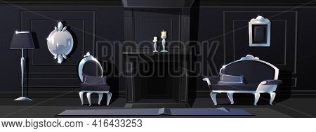Vector Cartoon Luxury Living Room In Black Colours With Fireplace. Rich Ballroom Or Hallway With Sil
