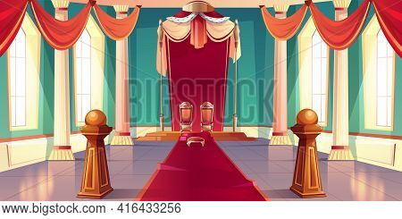 Medieval Castle Or Royal Palace Spacious, Sunny Throne Room Or Ballroom Empty Interior With King And