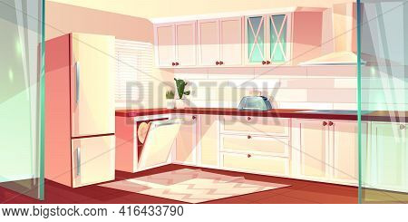 Vector Cartoon Illustration Of Bright Kitchen In White Color. Fridge, Oven And Exhaust Hood In Cooki