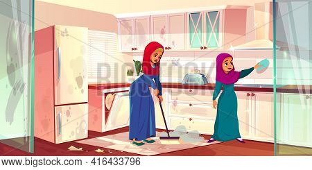Vector Cartoon Illustration With Two Arabian Ladies Clean Kitchen. Dirty Place With Spots, Cleaning