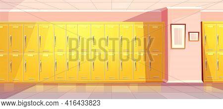 Vector Cartoon School Or College Corridor With Bright Yellow Lockers For Students, Pupils. Universit