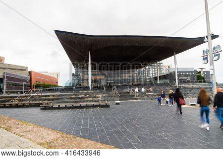 Cardiff, Wales -july 7 2020: Outside The Welsh Parliament Or Senedd Cymru Building, Wales, United Ki