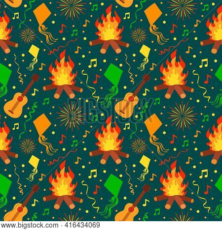 Festa Junina Seamless Pattern For Latin American Holiday, The June Party Of Brazil Festive Vector Ba