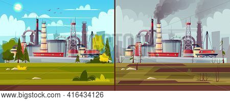 Vector Background With Environmental Pollution. Before And After Illustration - Factory Plant Smokes