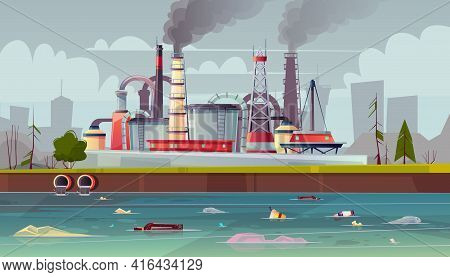 Vector Background With Environmental Pollution. Factory Plant Smokes With Smog, Trash Emission From