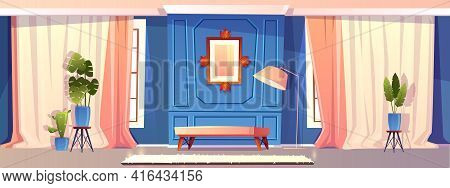 Vector Cartoon Illustration Of Luxury Living Room In Blue Colors, Moldings With Picture. Rich Ballro