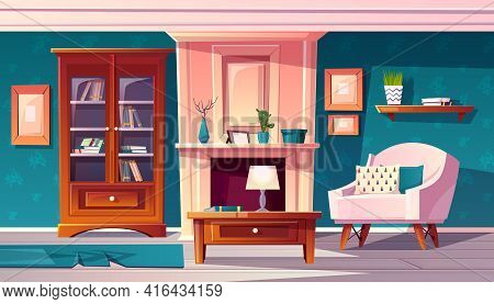 Vector Cartoon Luxury Cabinet With Fireplace And Molding On Wall. Rich Room With Bookshelf And Secre