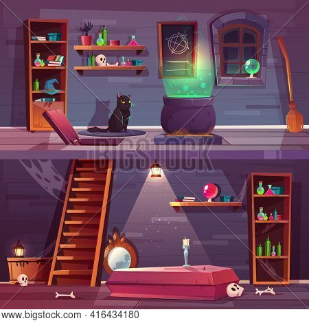 Vector Game Background Of Witch House With Cellar. Basement With Hatch, Coffin And Bones In Vault. S
