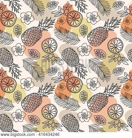Tropical Summer Fruits Seamless Pattern. Vector Illustration