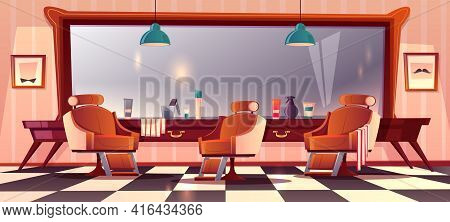 Vector Background With Male Barbershop, Gentlemanly Salon For Haircutting. Hipster Grooming Place Wi