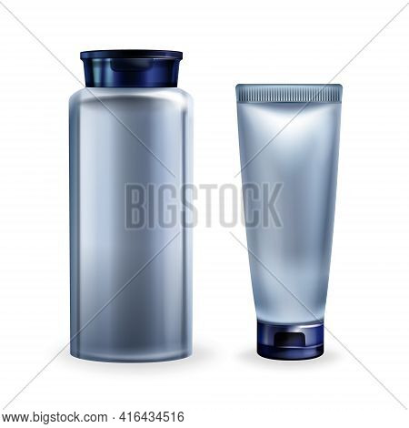 Vector 3d Realistic Illustration With Cosmetics For Men - Silver Grey Jar With Lotion, Tube With Cre