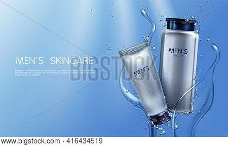 Vector 3d Realistic Cosmetics For Men In Blue Water Splashing. Ad Poster, Promo Banner With Silver G