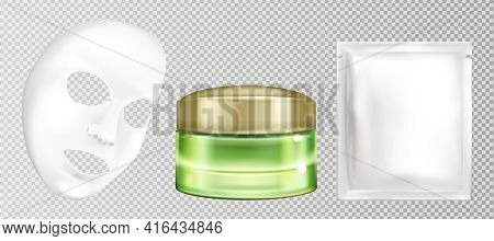 Vector 3d Realistic White Sheet Facial Cosmetic Mask With Cucumber. Moisturizing Or Anti-aging Cream