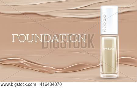 Vector 3d Realistic Illustration With Concealer, Beige Cosmetic Product In Glass Package. Premium Fo