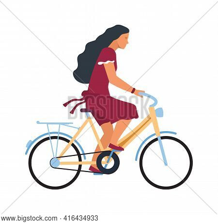 Woman On Bike. Cartoon Female Character Riding On Bicycle. Profile View Of Young Cute Cyclist. Girl