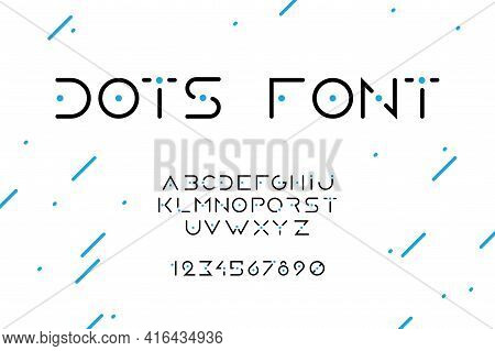 Dots Font. Minimal Uppercase Numbers And Letters Of English Alphabet. Black Text Symbols With Blue P