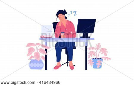 Tired Woman. Stressed And Burn Out Worker Sleeps Sitting At Table. Overwhelmed Office Employee. Asle
