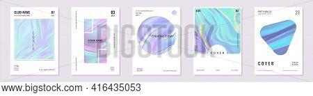 Holographic Foil Posters. Realistic Minimal Iridescent Invitation Banners. Purple Mesh Hologram Flye