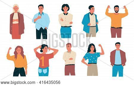 Confident People. Happy Cartoon Students And Office Characters. Standing Successful Workers With Sel