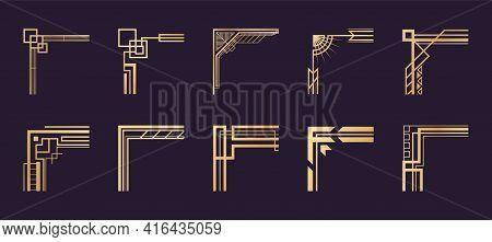 Art Deco Corners. Geometric Vintage Golden Borders. Luxury Frame Template Elements. Decorative Filig